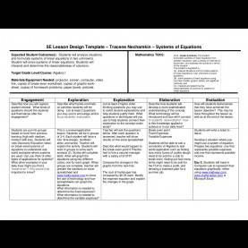 Complex 5E Lesson Plan For Algebra 5E Lesson Plan Systems Of Equations By Wylie East High School - I