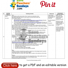 Complex Lesson Plan For Year 5 Science Gravity Lesson Plan. Go T
