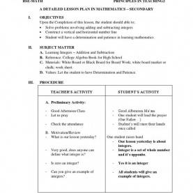 Excellent Example Of Detailed Lesson Plan In English Secondary A Detailed Lesson Plan In Mathematics Subtraction Integer Detaile