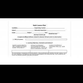 Excellent Lesson Plan Sample For Mathematics Monmouth Math Lesson Plan Template - You