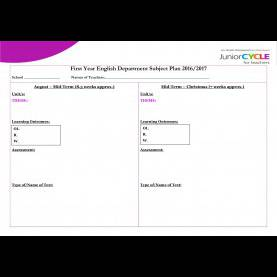 Excellent Subject Planning Template English | Planning | Junior Cycle For Teachers (