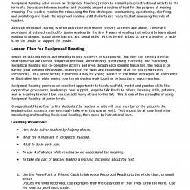 Fresh Lesson Plan For Reading Skills Reciprocal Reading Lesson Plan | Pdf Flip