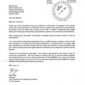Good Ministry Of Education Curriculum Ministry Letters Re 2011 Charter - Kaikohe East Sc