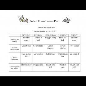 Great Infant Curriculum Themes Infant Room Lesson Plan Theme That Makes Five Week Of | Classroo