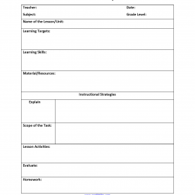 Newest Lesson Plan Evaluation Template Instructional Strategies Lesson Plan Template | Interactiv