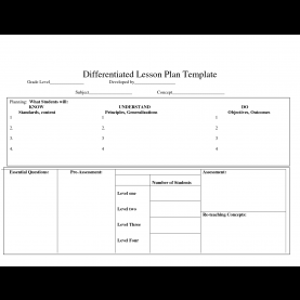 Newest Lesson Plan Template Differentiation Differentiated Lesson Plan Template | Hunecompany
