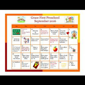 Newest September Activities For Preschoolers September 2016 Activity Calendar - Grace First Presbyterian Presc