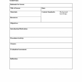 Regular Lesson Plan Template For Elementary Weekly Lesson Plan Template One Subject 10 Best Images Of On