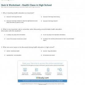 Regular Lessons For High School Students Quiz & Worksheet - Health Class In High School | Study