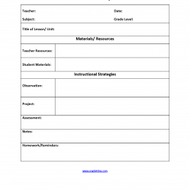 Simple Lesson Plan Template Observation Lesson Plan Template | Simple Lesson Plan Temp