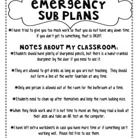 Simple Sub Lesson Plans Excellent Example Of Emergency Sub Plans   Back To School Idea