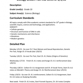 Special A Detailed Lesson Plan In Science Biology Lesson Plan #18 Week Of 1/5/15 Description Grade Leve