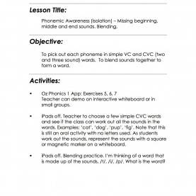 Special Cvc Lesson Plans Lesson Plans - Phonemic Awareness. Missing Beginning, Middle An