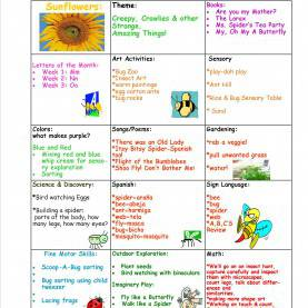 Special Infant Lesson Plans Bugs Sunflowers August Lesson Plan 2014 « Sun Moon & Stars Learnin