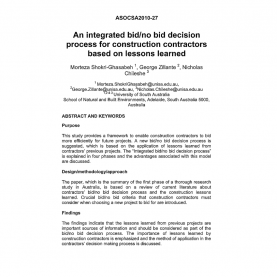 Special Lessons Learned From Previous Projects An Integrated Bid/no Bid Decision Process For Constructio