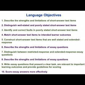 Special My Guidelines In Constructing Objectives Edu 385 Session 10 Writing Supply Items Short Answer And Essa