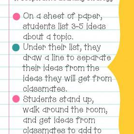 Special Siop Strategies List Give One - Get One ~ A Cooperative Learning Strategy - Teachin