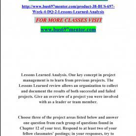Top Project Lessons Learned Questions Bus 697 Week 4 Dq 2 Lessons Learned Analysis By Jyothi5 - I