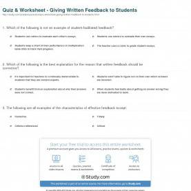 Top Student Feedback Examples Quiz & Worksheet - Giving Written Feedback To Students | Study