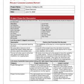 Trending Lessons Learned Document Management Lovely Lessons Learnt Report Template Lessons Learnt Repor
