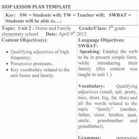 Trending Siop Lesson Plan Examples Kindergarten Siop Lesson Plan Kindergarten Math Siop Lesson Plans For Exampl