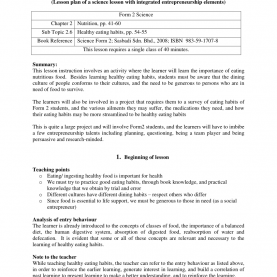 Typical Detailed Lesson Plan In Science And Health Grade 3 Healthy Eating Habits (Lesson Plan Of A Science Lesson Wit