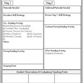 Typical Free Reading Lesson Plans Free Guided Reading Lesson Plan Template | Printable Online Cale