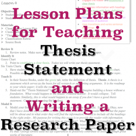 Typical Lesson Objectives Examples English Sample Lesson Plans For Teaching Thesis Statement And How To Writ