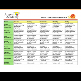 Typical Weekly Lesson Plan For Preschool 6+ Sample Lesson Plan For Preschool | Loan Application