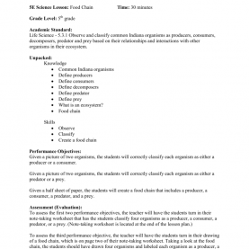 Unusual 5E Lesson Plan Food Chain Lesson Plan By Whitley Starnes 5E Science Lesson: Food C
