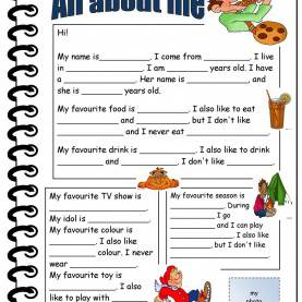 Unusual English Lesson Plan-Introducing Yourself All About Me Printable Worksheets - Google Search | Counselin