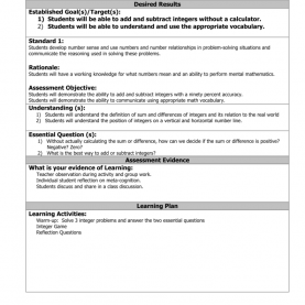 Unusual Integers Lesson Plan Integers Lesson Plan And Acti