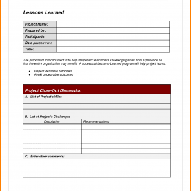 Unusual Lessons Learned Document 9+ Lessons Learned Template | Cashier Re