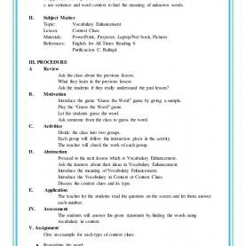 Useful Detailed Lesson Plan In English Grade 4 Sample Of Brief Lesson Plan Example Semi Detailed For Kindergarte