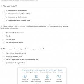 Useful High School Lesson Plan For Identity Theft Quiz & Worksheet - Protecting Your Identity | Study