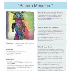 Useful The Art Of Education Lesson Plans Pattern Monsters: Free Lesson Plan Download - The Art O