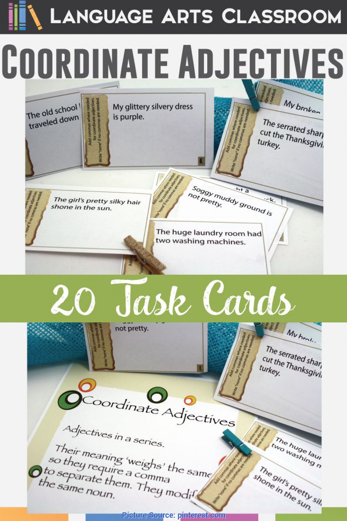 Top Detailed Lesson Plan In English Secondary Adjectives Coordinate Adjectives Task Cards | Sentences, English Lesson Plan