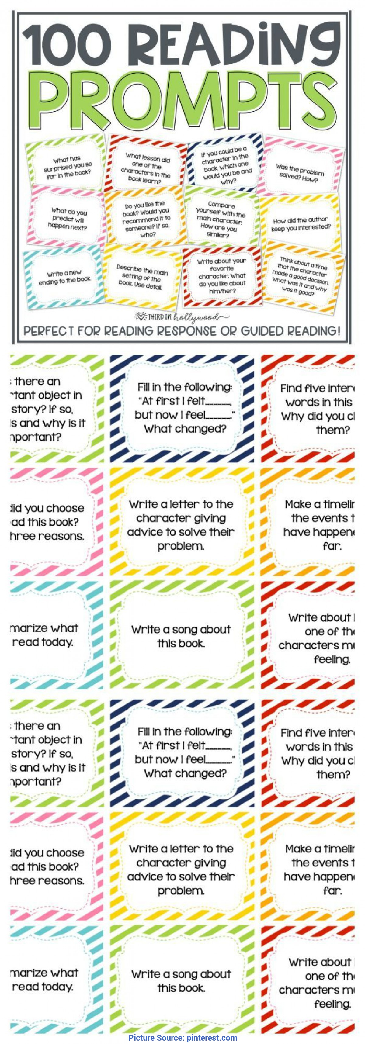Trending Guided Reading Prompts 100 Reading Response Prompts   Prompts, Guided Reading And Sc