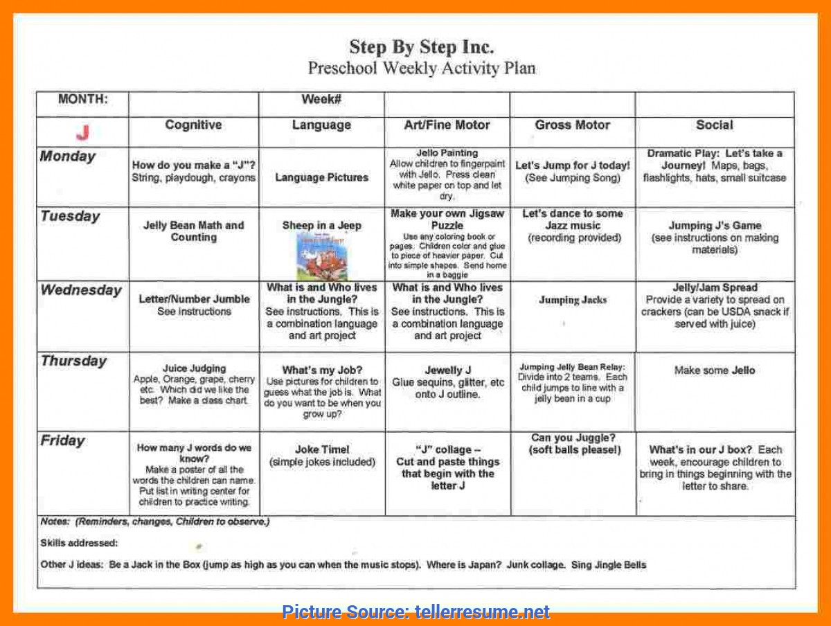 Typical Lesson Plan For Nursery Students 4+ Preschool Weekly Lesson Plan | Teller Re