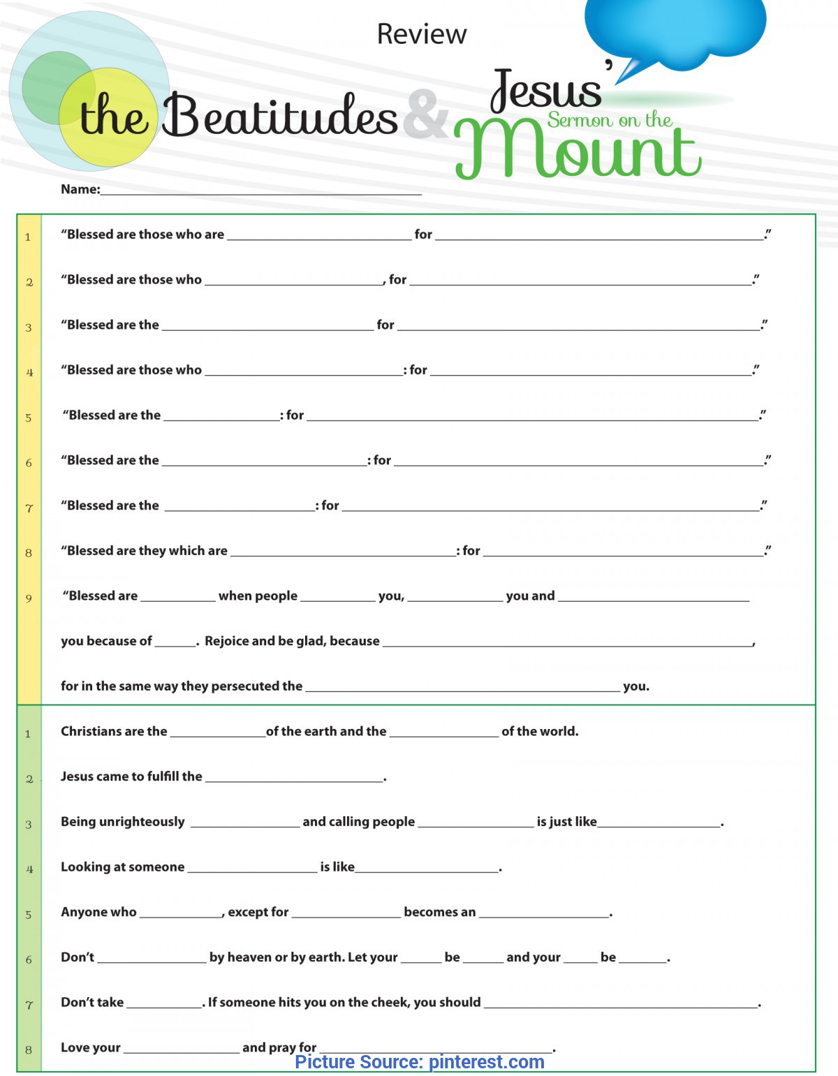 Unusual Lesson Plan For Sunday School Youth Worksheet To Teach Jesus Sermon On The Mount From Matthew Chapte