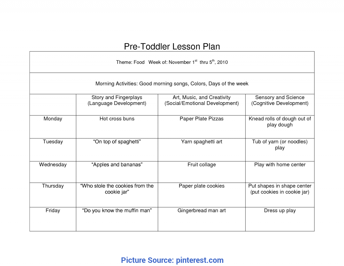 Unusual November Lesson Plans For Toddlers Creative Curriculum Blank Lesson Plan | Wcc Pre Toddler Curriculu