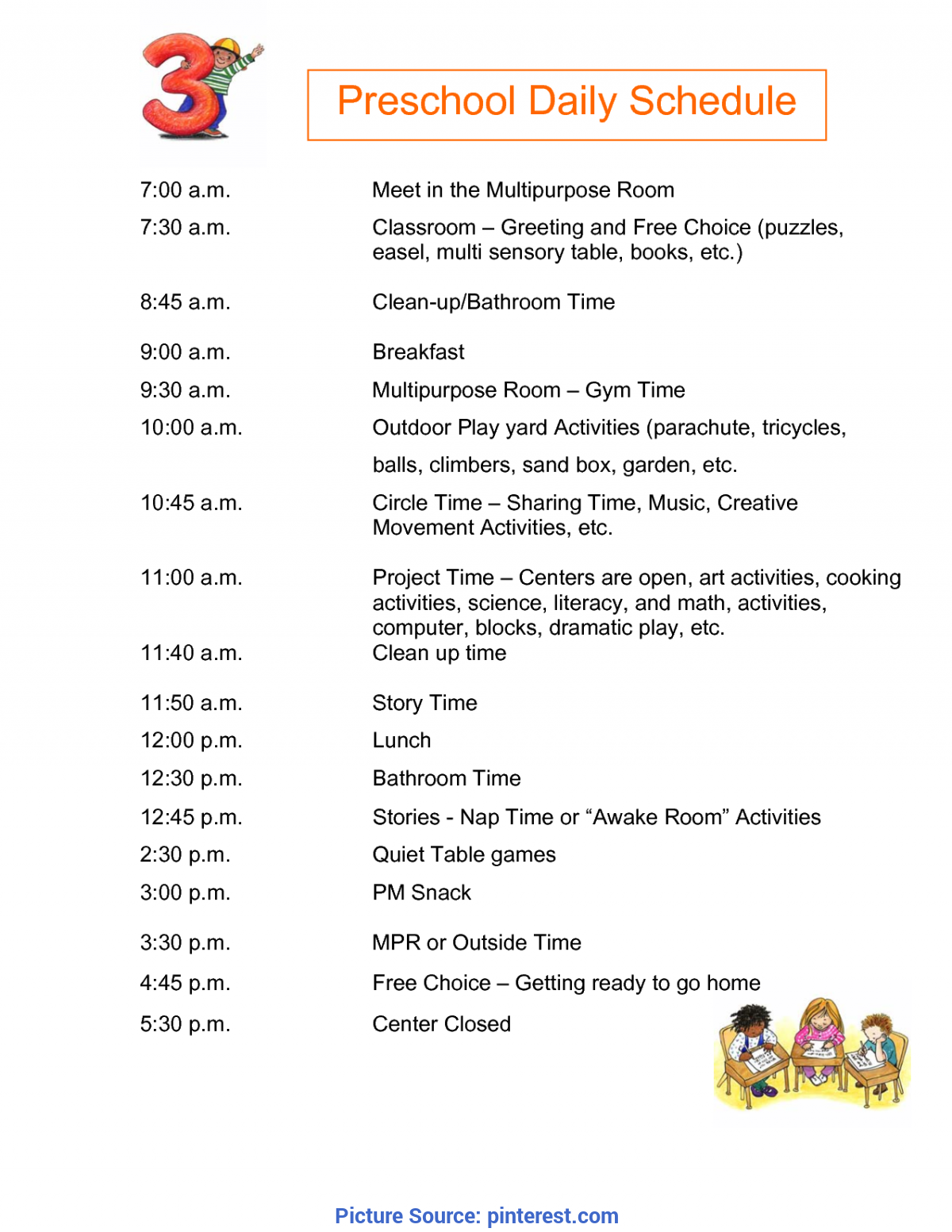 Unusual Preschool Daily Schedule Half Day Preschool Daily Schedule Submited Images   Pic2Fl