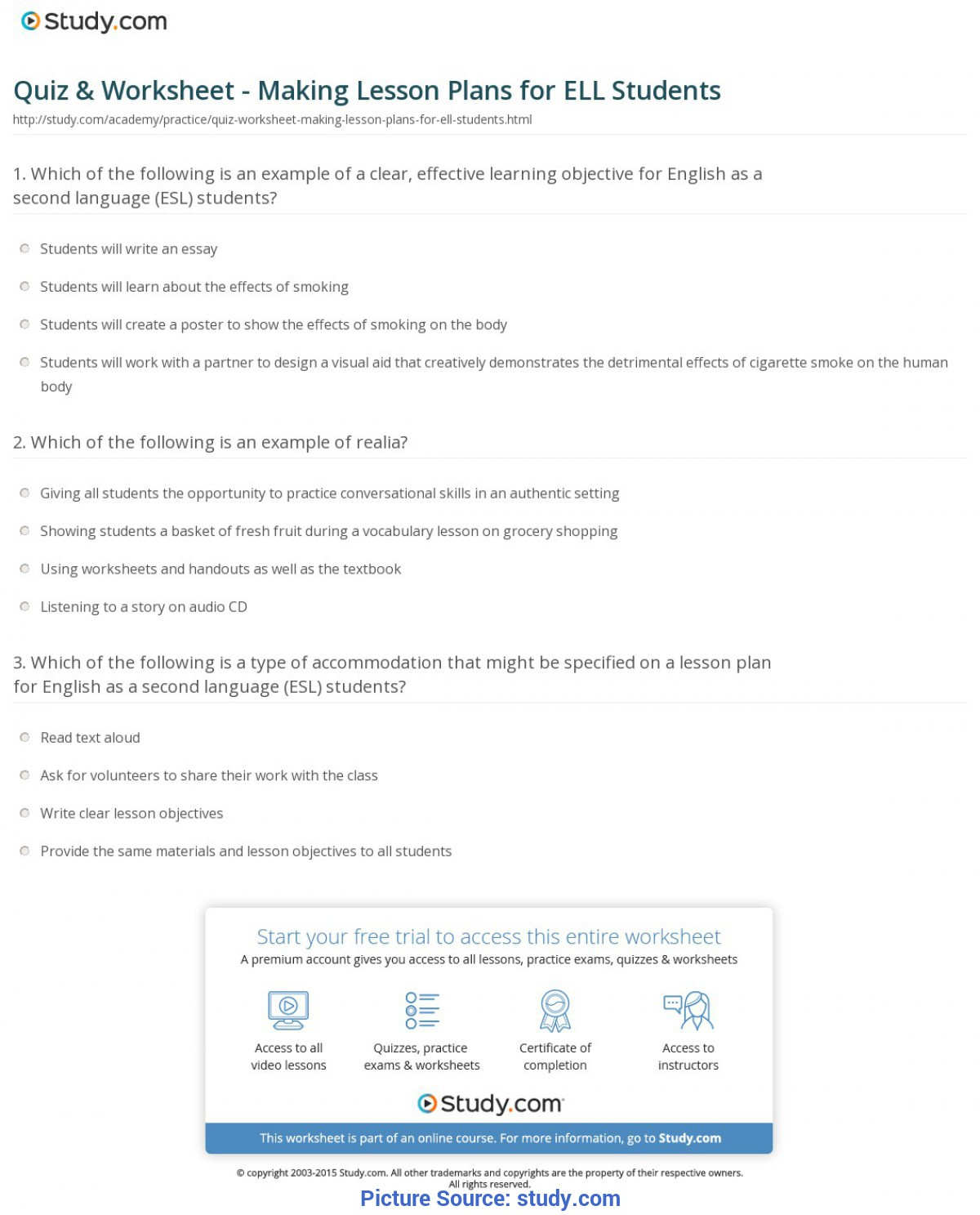 Valuable How To Write A Lesson Plan For Esl Students Quiz & Worksheet - Making Lesson Plans For Ell Students | Study